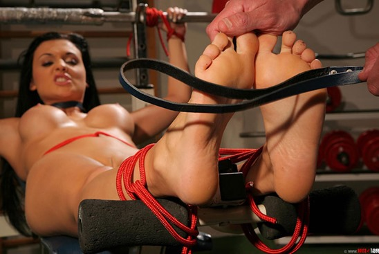 Fitness porn with Aletta Ocean tied up in bondage
